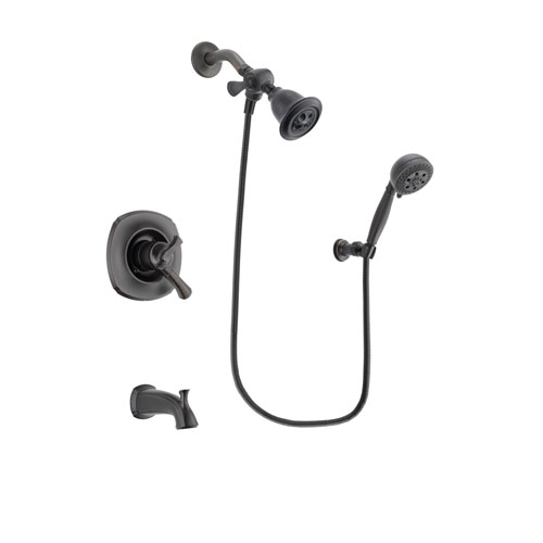 Delta Addison Venetian Bronze Finish Dual Control Tub and Shower Faucet System Package with Water Efficient Showerhead and 5-Setting Wall Mount Personal Handheld Shower Spray Includes Rough-in Valve and Tub Spout DSP2795V