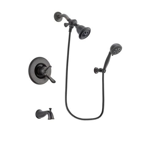 Delta Linden Venetian Bronze Finish Dual Control Tub and Shower Faucet System Package with Water Efficient Showerhead and 5-Setting Wall Mount Personal Handheld Shower Spray Includes Rough-in Valve and Tub Spout DSP2797V