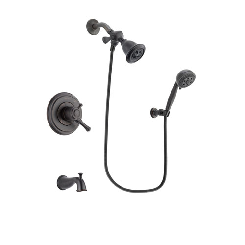 Delta Cassidy Venetian Bronze Finish Dual Control Tub and Shower Faucet System Package with Water Efficient Showerhead and 5-Setting Wall Mount Personal Handheld Shower Spray Includes Rough-in Valve and Tub Spout DSP2799V