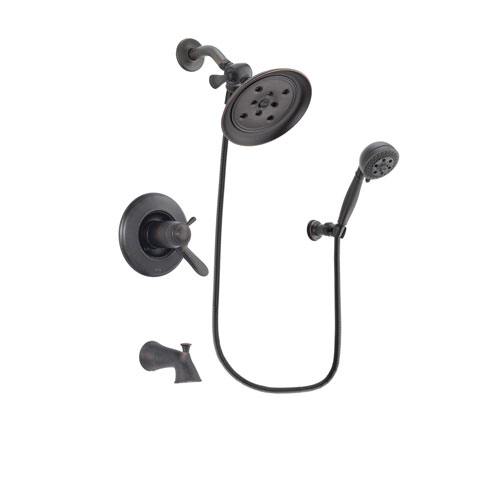 Delta Lahara Venetian Bronze Finish Thermostatic Tub and Shower Faucet System Package with Large Rain Shower Head and 5-Setting Wall Mount Personal Handheld Shower Spray Includes Rough-in Valve and Tub Spout DSP2801V
