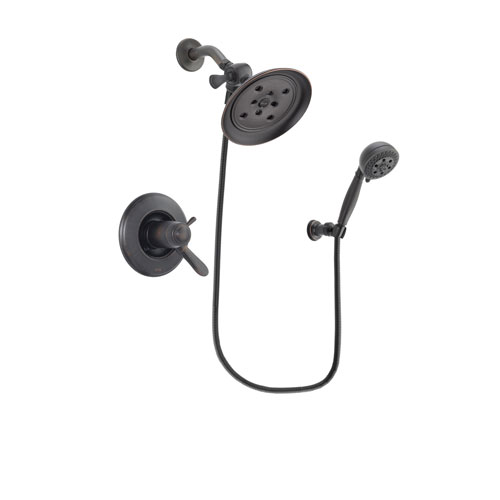 Delta Lahara Venetian Bronze Finish Thermostatic Shower Faucet System Package with Large Rain Shower Head and 5-Setting Wall Mount Personal Handheld Shower Spray Includes Rough-in Valve DSP2802V