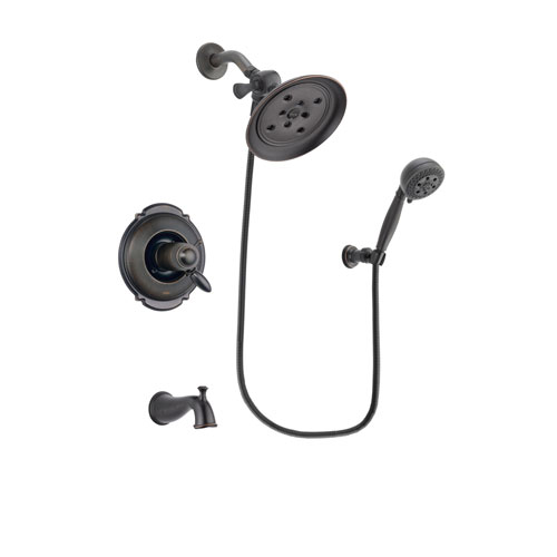 Delta Victorian Venetian Bronze Finish Thermostatic Tub and Shower Faucet System Package with Large Rain Shower Head and 5-Setting Wall Mount Personal Handheld Shower Spray Includes Rough-in Valve and Tub Spout DSP2803V