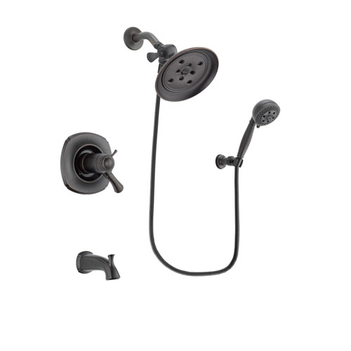 Delta Addison Venetian Bronze Finish Thermostatic Tub and Shower Faucet System Package with Large Rain Shower Head and 5-Setting Wall Mount Personal Handheld Shower Spray Includes Rough-in Valve and Tub Spout DSP2807V