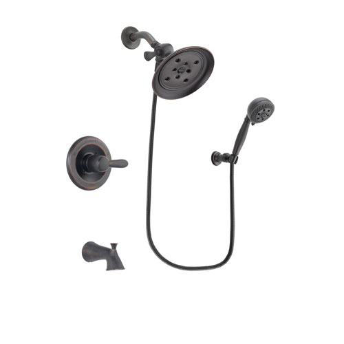 Delta Lahara Venetian Bronze Finish Tub and Shower Faucet System Package with Large Rain Shower Head and 5-Setting Wall Mount Personal Handheld Shower Spray Includes Rough-in Valve and Tub Spout DSP2811V