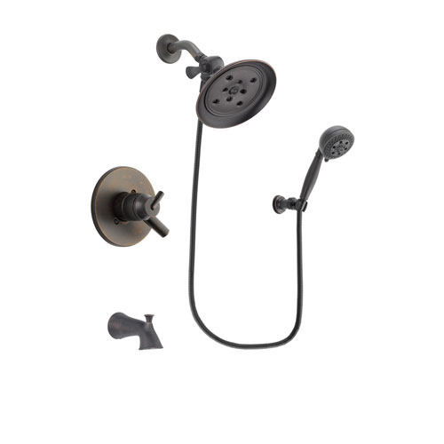 Delta Trinsic Venetian Bronze Finish Dual Control Tub and Shower Faucet System Package with Large Rain Shower Head and 5-Setting Wall Mount Personal Handheld Shower Spray Includes Rough-in Valve and Tub Spout DSP2821V