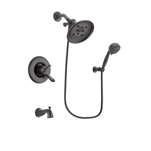 Delta Linden Venetian Bronze Finish Dual Control Tub and Shower Faucet System Package with Large Rain Shower Head and 5-Setting Wall Mount Personal Handheld Shower Spray Includes Rough-in Valve and Tub Spout DSP2827V