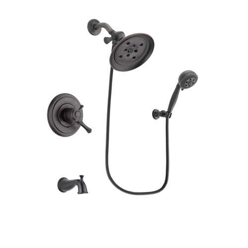 Delta Cassidy Venetian Bronze Finish Dual Control Tub and Shower Faucet System Package with Large Rain Shower Head and 5-Setting Wall Mount Personal Handheld Shower Spray Includes Rough-in Valve and Tub Spout DSP2829V