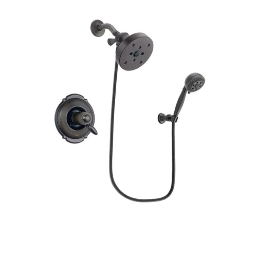 Delta Victorian Venetian Bronze Finish Thermostatic Shower Faucet System Package with 5-1/2 inch Showerhead and 5-Setting Wall Mount Personal Handheld Shower Spray Includes Rough-in Valve DSP2834V