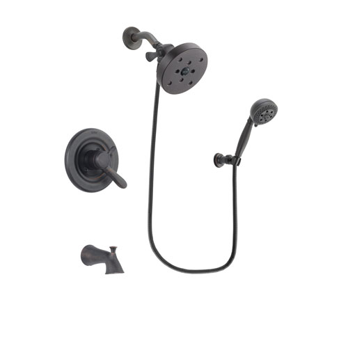 Delta Lahara Venetian Bronze Finish Dual Control Tub and Shower Faucet System Package with 5-1/2 inch Showerhead and 5-Setting Wall Mount Personal Handheld Shower Spray Includes Rough-in Valve and Tub Spout DSP2849V