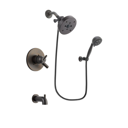 Delta Trinsic Venetian Bronze Finish Dual Control Tub and Shower Faucet System Package with 5-1/2 inch Showerhead and 5-Setting Wall Mount Personal Handheld Shower Spray Includes Rough-in Valve and Tub Spout DSP2851V