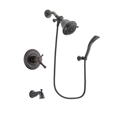 Delta Cassidy Venetian Bronze Finish Thermostatic Tub and Shower Faucet System Package with Shower Head and Modern Wall Mount Personal Handheld Shower Spray Includes Rough-in Valve and Tub Spout DSP2869V