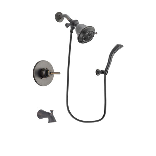 Delta Trinsic Venetian Bronze Finish Tub and Shower Faucet System Package with Shower Head and Modern Wall Mount Personal Handheld Shower Spray Includes Rough-in Valve and Tub Spout DSP2873V
