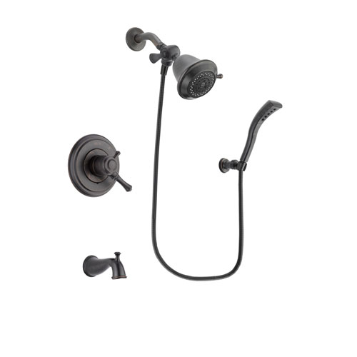 Delta Cassidy Venetian Bronze Finish Dual Control Tub and Shower Faucet System Package with Shower Head and Modern Wall Mount Personal Handheld Shower Spray Includes Rough-in Valve and Tub Spout DSP2889V