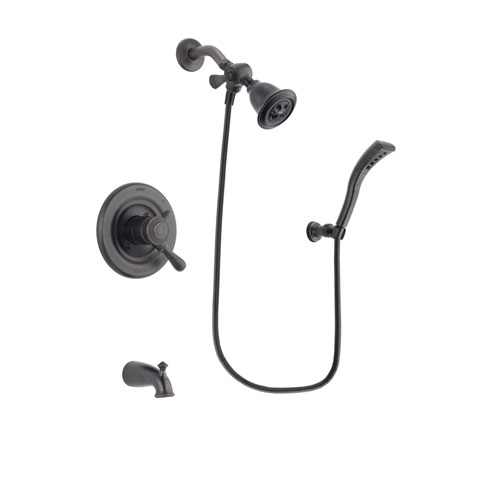 Delta Leland Venetian Bronze Finish Dual Control Tub and Shower Faucet System Package with Water Efficient Showerhead and Modern Wall Mount Personal Handheld Shower Spray Includes Rough-in Valve and Tub Spout DSP2913V