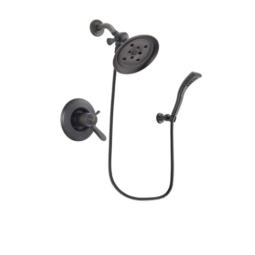 Delta Lahara Venetian Bronze Finish Thermostatic Shower Faucet System Package with Large Rain Shower Head and Modern Wall Mount Personal Handheld Shower Spray Includes Rough-in Valve DSP2922V