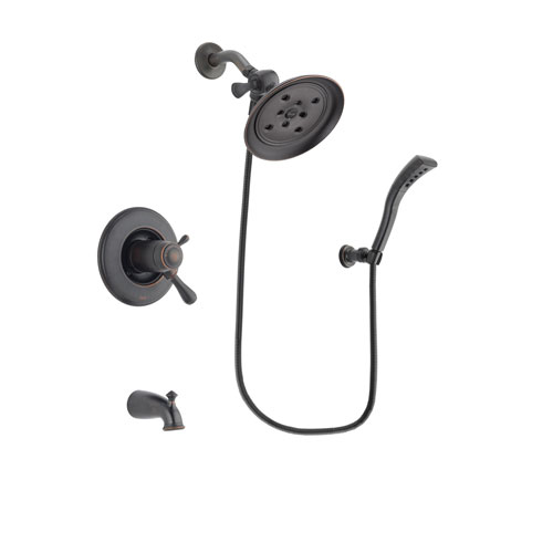 Delta Leland Venetian Bronze Finish Thermostatic Tub and Shower Faucet System Package with Large Rain Shower Head and Modern Wall Mount Personal Handheld Shower Spray Includes Rough-in Valve and Tub Spout DSP2925V