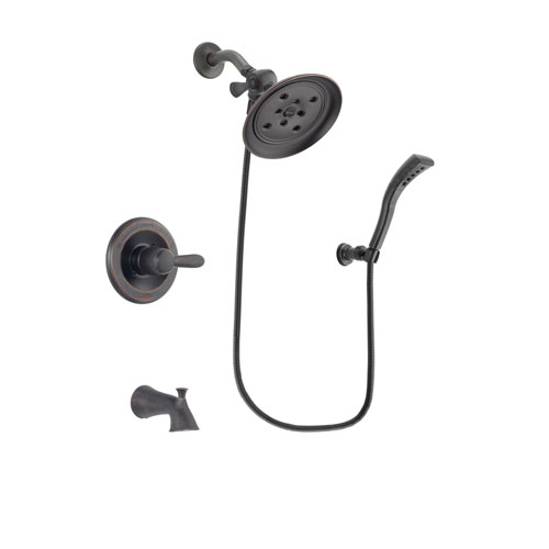 Delta Lahara Venetian Bronze Finish Tub and Shower Faucet System Package with Large Rain Shower Head and Modern Wall Mount Personal Handheld Shower Spray Includes Rough-in Valve and Tub Spout DSP2931V