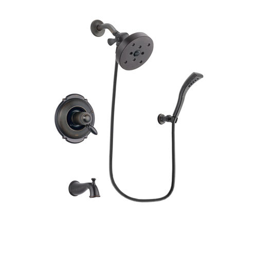 Delta Victorian Venetian Bronze Finish Thermostatic Tub and Shower Faucet System Package with 5-1/2 inch Showerhead and Modern Wall Mount Personal Handheld Shower Spray Includes Rough-in Valve and Tub Spout DSP2953V