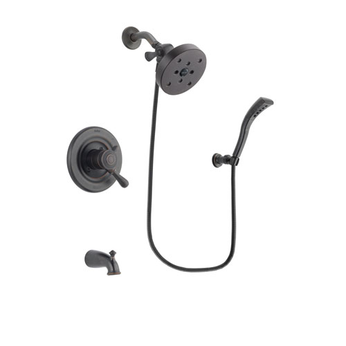 Delta Leland Venetian Bronze Finish Dual Control Tub and Shower Faucet System Package with 5-1/2 inch Showerhead and Modern Wall Mount Personal Handheld Shower Spray Includes Rough-in Valve and Tub Spout DSP2973V