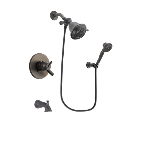 Delta Trinsic Venetian Bronze Finish Dual Control Tub and Shower Faucet System Package with Shower Head and 3-Spray Wall-Mount Hand Shower Includes Rough-in Valve and Tub Spout DSP3001V