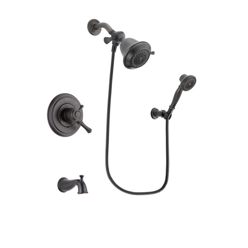 Delta Cassidy Venetian Bronze Finish Dual Control Tub and Shower Faucet System Package with Shower Head and 3-Spray Wall-Mount Hand Shower Includes Rough-in Valve and Tub Spout DSP3009V