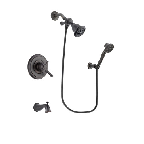 Delta Cassidy Venetian Bronze Finish Dual Control Tub and Shower Faucet System Package with Water Efficient Showerhead and 3-Spray Wall-Mount Hand Shower Includes Rough-in Valve and Tub Spout DSP3039V