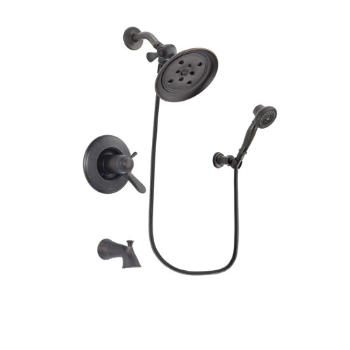 Delta Lahara Venetian Bronze Finish Thermostatic Tub and Shower Faucet System Package with Large Rain Shower Head and 3-Spray Wall-Mount Hand Shower Includes Rough-in Valve and Tub Spout DSP3041V