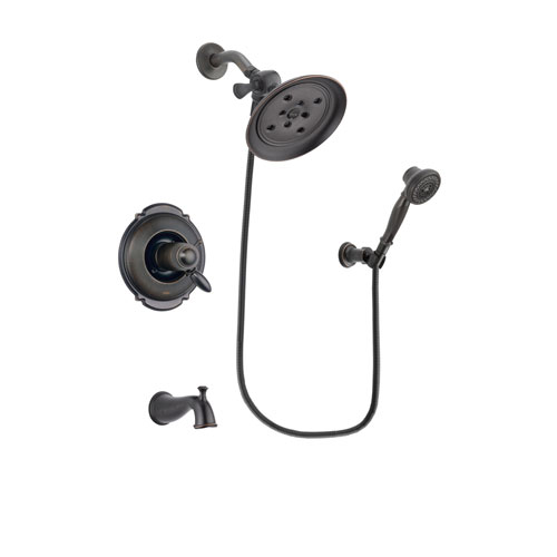 Delta Victorian Venetian Bronze Finish Thermostatic Tub and Shower Faucet System Package with Large Rain Shower Head and 3-Spray Wall-Mount Hand Shower Includes Rough-in Valve and Tub Spout DSP3043V