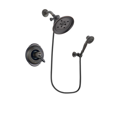 Delta Victorian Venetian Bronze Finish Thermostatic Shower Faucet System Package with Large Rain Shower Head and 3-Spray Wall-Mount Hand Shower Includes Rough-in Valve DSP3044V