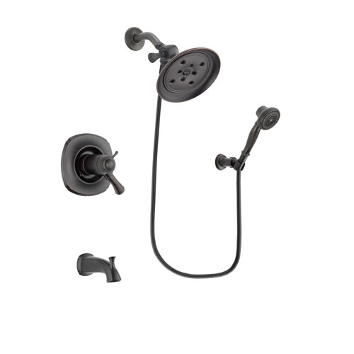 Delta Addison Venetian Bronze Finish Thermostatic Tub and Shower Faucet System Package with Large Rain Shower Head and 3-Spray Wall-Mount Hand Shower Includes Rough-in Valve and Tub Spout DSP3047V