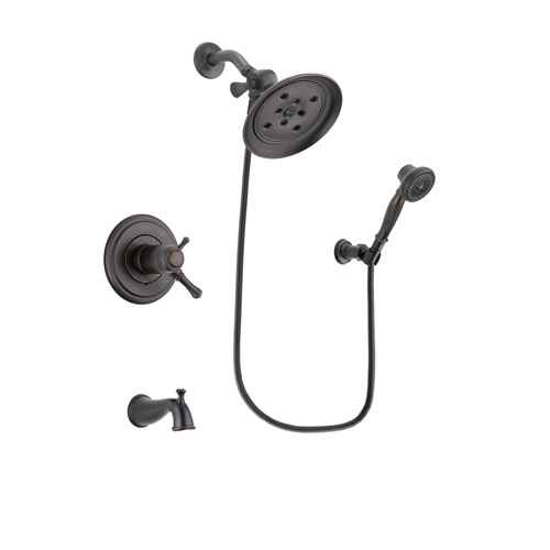 Delta Cassidy Venetian Bronze Finish Thermostatic Tub and Shower Faucet System Package with Large Rain Shower Head and 3-Spray Wall-Mount Hand Shower Includes Rough-in Valve and Tub Spout DSP3049V