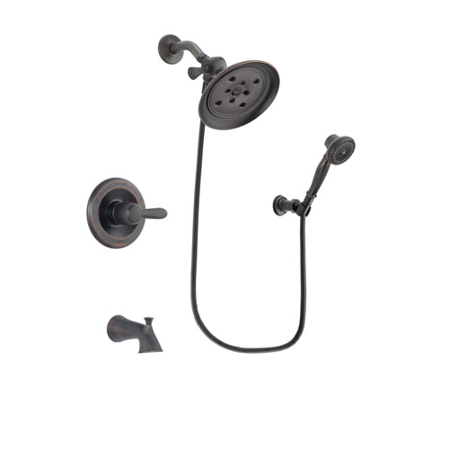 Delta Lahara Venetian Bronze Finish Tub and Shower Faucet System Package with Large Rain Shower Head and 3-Spray Wall-Mount Hand Shower Includes Rough-in Valve and Tub Spout DSP3051V