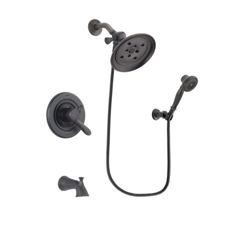 Delta Lahara Venetian Bronze Finish Dual Control Tub and Shower Faucet System Package with Large Rain Shower Head and 3-Spray Wall-Mount Hand Shower Includes Rough-in Valve and Tub Spout DSP3059V