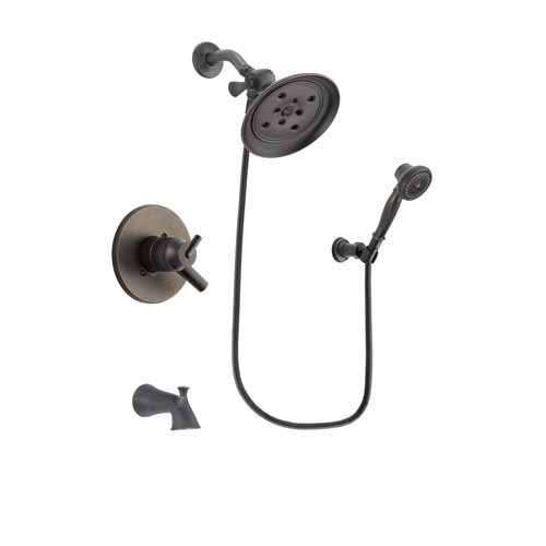 Delta Trinsic Venetian Bronze Finish Dual Control Tub and Shower Faucet System Package with Large Rain Shower Head and 3-Spray Wall-Mount Hand Shower Includes Rough-in Valve and Tub Spout DSP3061V