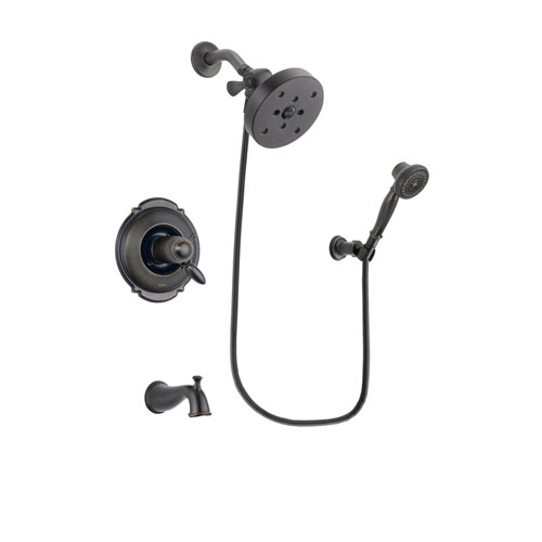 Delta Victorian Venetian Bronze Finish Thermostatic Tub and Shower Faucet System Package with 5-1/2 inch Showerhead and 3-Spray Wall-Mount Hand Shower Includes Rough-in Valve and Tub Spout DSP3073V