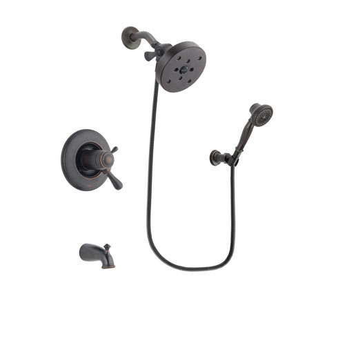 Delta Leland Venetian Bronze Finish Thermostatic Tub and Shower Faucet System Package with 5-1/2 inch Showerhead and 3-Spray Wall-Mount Hand Shower Includes Rough-in Valve and Tub Spout DSP3075V