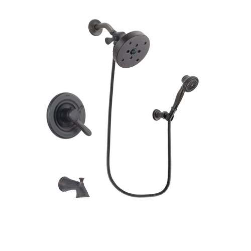 Delta Lahara Venetian Bronze Finish Dual Control Tub and Shower Faucet System Package with 5-1/2 inch Showerhead and 3-Spray Wall-Mount Hand Shower Includes Rough-in Valve and Tub Spout DSP3089V