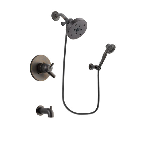 Delta Trinsic Venetian Bronze Finish Dual Control Tub and Shower Faucet System Package with 5-1/2 inch Showerhead and 3-Spray Wall-Mount Hand Shower Includes Rough-in Valve and Tub Spout DSP3091V