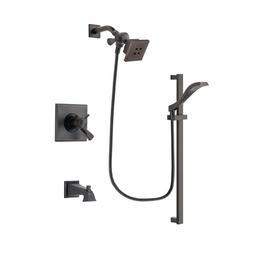 Delta Dryden Venetian Bronze Finish Thermostatic Tub and Shower Faucet System Package with Square Showerhead and Modern Handheld Shower Spray with Slide Bar Includes Rough-in Valve and Tub Spout DSP3101V