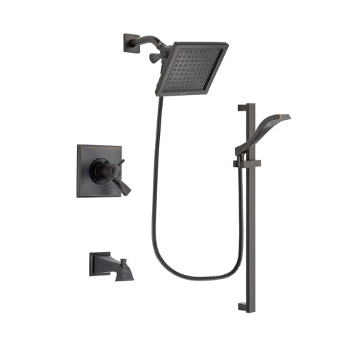 Delta Dryden Venetian Bronze Finish Thermostatic Tub and Shower Faucet System Package with 6.5-inch Square Rain Showerhead and Modern Handheld Shower Spray with Slide Bar Includes Rough-in Valve and Tub Spout DSP3113V