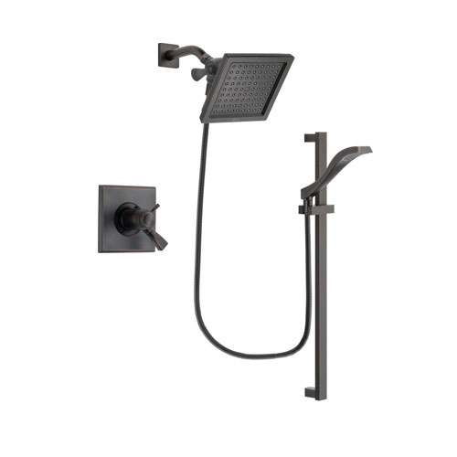 Delta Dryden Venetian Bronze Finish Thermostatic Shower Faucet System Package with 6.5-inch Square Rain Showerhead and Modern Handheld Shower Spray with Slide Bar Includes Rough-in Valve DSP3114V