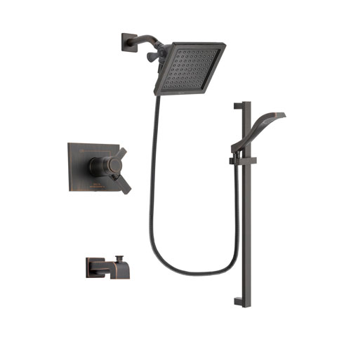 Delta Vero Venetian Bronze Finish Thermostatic Tub and Shower Faucet System Package with 6.5-inch Square Rain Showerhead and Modern Handheld Shower Spray with Slide Bar Includes Rough-in Valve and Tub Spout DSP3115V