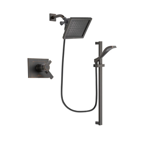 Delta Vero Venetian Bronze Finish Thermostatic Shower Faucet System Package with 6.5-inch Square Rain Showerhead and Modern Handheld Shower Spray with Slide Bar Includes Rough-in Valve DSP3116V