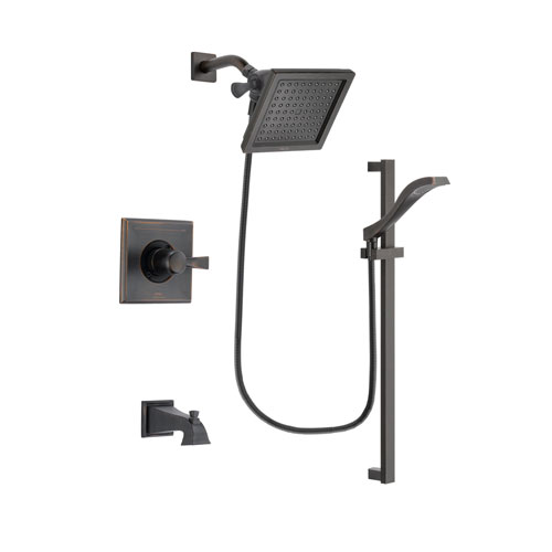Delta Dryden Venetian Bronze Finish Tub and Shower Faucet System Package with 6.5-inch Square Rain Showerhead and Modern Handheld Shower Spray with Slide Bar Includes Rough-in Valve and Tub Spout DSP3117V
