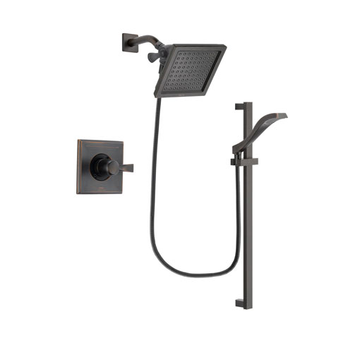 Delta Dryden Venetian Bronze Finish Shower Faucet System Package with 6.5-inch Square Rain Showerhead and Modern Handheld Shower Spray with Slide Bar Includes Rough-in Valve DSP3118V