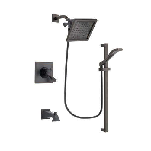 Delta Dryden Venetian Bronze Finish Dual Control Tub and Shower Faucet System Package with 6.5-inch Square Rain Showerhead and Modern Handheld Shower Spray with Slide Bar Includes Rough-in Valve and Tub Spout DSP3121V