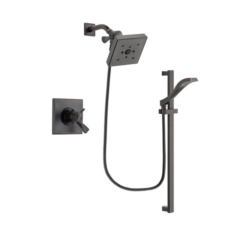 Delta Dryden Venetian Bronze Finish Thermostatic Shower Faucet System Package with Square Shower Head and Modern Handheld Shower Spray with Slide Bar Includes Rough-in Valve DSP3126V