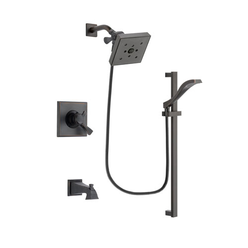 Delta Dryden Venetian Bronze Finish Dual Control Tub and Shower Faucet System Package with Square Shower Head and Modern Handheld Shower Spray with Slide Bar Includes Rough-in Valve and Tub Spout DSP3133V