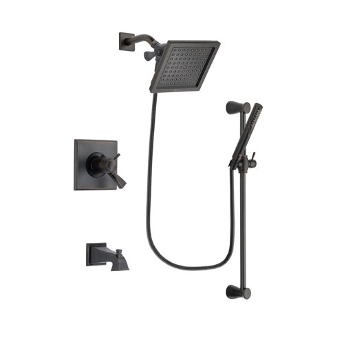 Delta Dryden Venetian Bronze Finish Thermostatic Tub and Shower Faucet System Package with 6.5-inch Square Rain Showerhead and Modern Hand Shower with Slide Bar Includes Rough-in Valve and Tub Spout DSP3149V