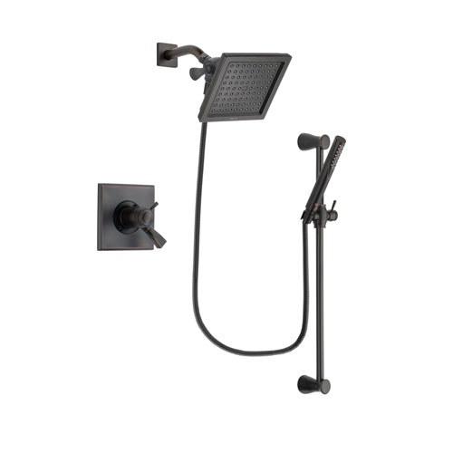 Delta Dryden Venetian Bronze Finish Thermostatic Shower Faucet System Package with 6.5-inch Square Rain Showerhead and Modern Hand Shower with Slide Bar Includes Rough-in Valve DSP3150V